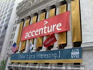 Accenture's banner hanging on New York Stock Exchange (NYSE) building for its initial public offering on July 19, 2001