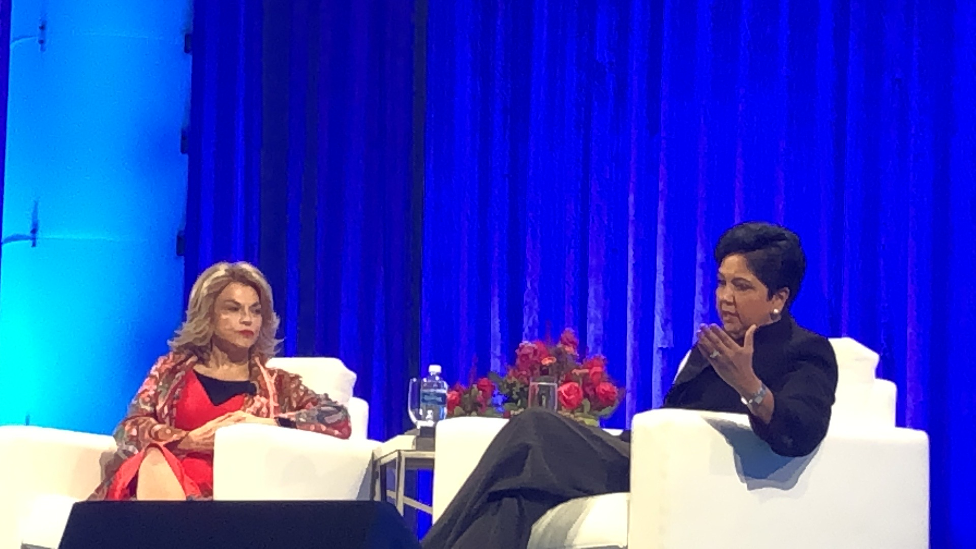 Former PepsiCo chair and CEO Indra Nooyi speaks with Pat Mitchell at the Watermark Conference